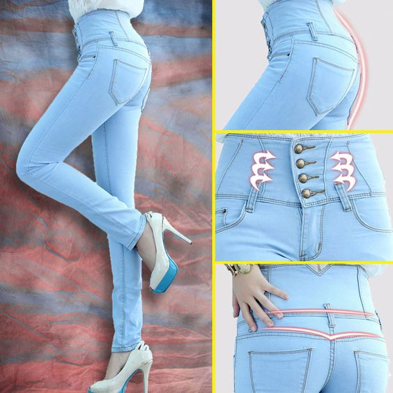Hot sale!Pants female skinny jeans trousers high waist jeans women