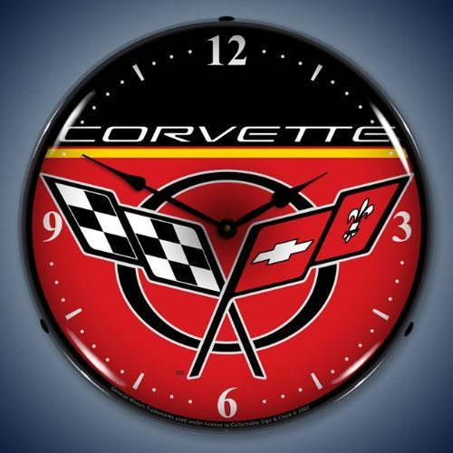 C5 Corvette Led Lighted Wall Clock 14 X 14 Inches Corvette Clock Wall Clock Light Corvette