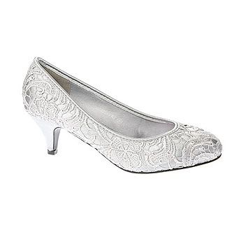 Silver Low Heel Lace Court Shoe - bridal shoes - shoes - Wedding