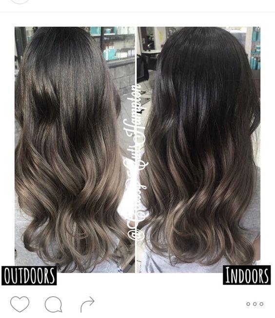 Glossy ash brown cool hair