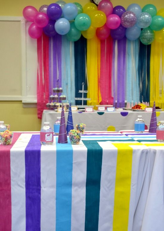 Streamers backdrops and activity tables on pinterest for How to make a balloon and streamer backdrop
