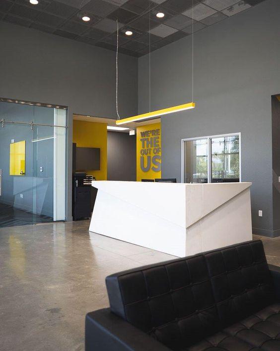 White Concrete Reception Desk Made With Concrete Countertop