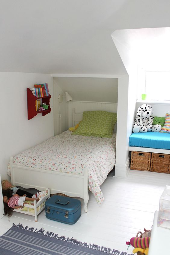 Make the most of every space. Solutions for small attic bedroom | Girl's Attic Bedroom Ideas and Tips: