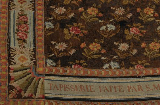 Detail of a tapestry embroidered by Marie Antoinette and Madame Elisabeth at the Tuileries and at the Temple.  1791-1793.  On display at Montreuil April - July.