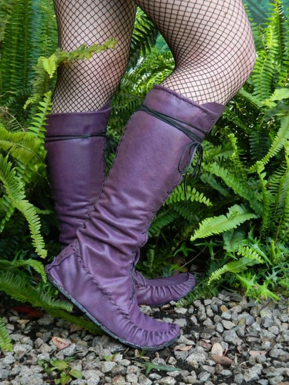 Purple Leather Pixie Boots by goonetribecreations on Etsy, $169.00