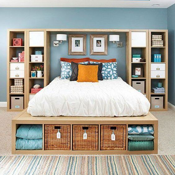 Bedroom Storage Shelves #23: Build Your Own Storage. Use Off The Shelf Storage Unit As Well As Platform Bed