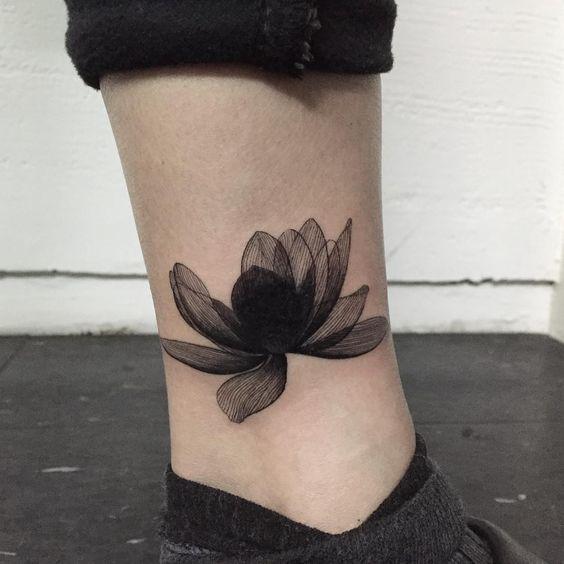 Black Lotus Flower Tattoo On The Left Ankle Cover Tattoo Cover Up Tattoos Tattoos
