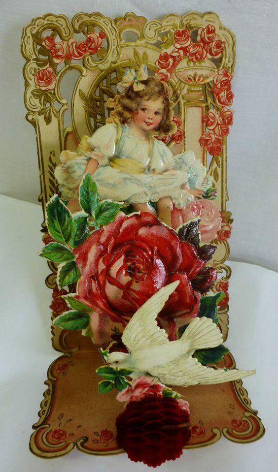 Antique Victorian 3D Pop-Up Valentines Day Card Diecut Ornate German Vintage: