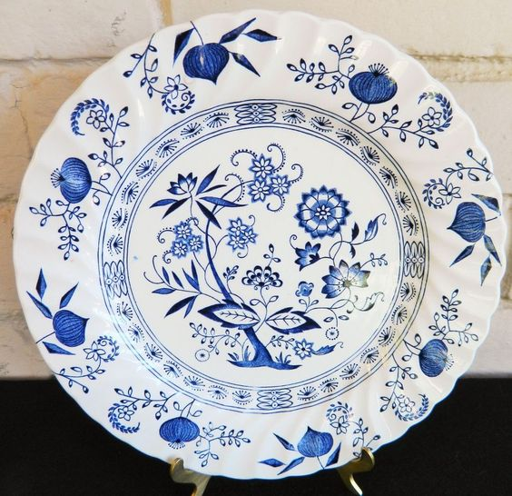 "Johnson Brothers Ironstone Blue Nordic hand engraved dinner plate 10""…"