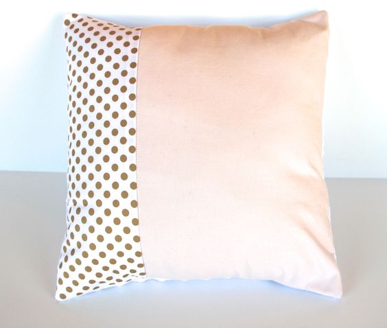 Blush pink gold dot pillow cover - minky baby nursery pillow - baby girl - peach metallic - 16 x 16 - modern baby shower gift by WilderAndBean on Etsy https://www.etsy.com/listing/176977706/blush-pink-gold-dot-pillow-cover-minky
