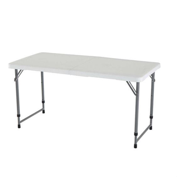 Adjustable Height White HDPE Plastic Folding Table with Powder Coated Steel Frame