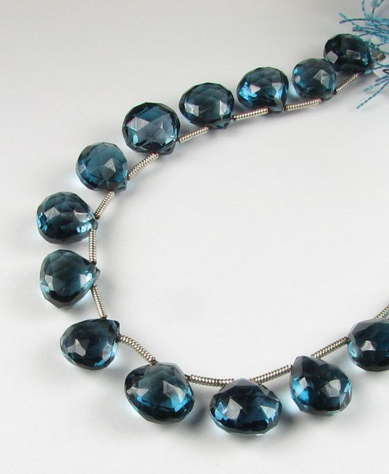 Gorgeous Puffed London Blue Topaz Faceted Heart by BeadingHeartCo, $33.00