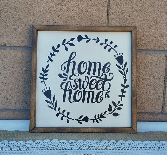 Home Sweet Home Hanging Wall Decor Hanging Wood Sign Custom Wall Decal