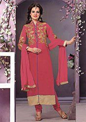 Red Embroidered Straight Suit