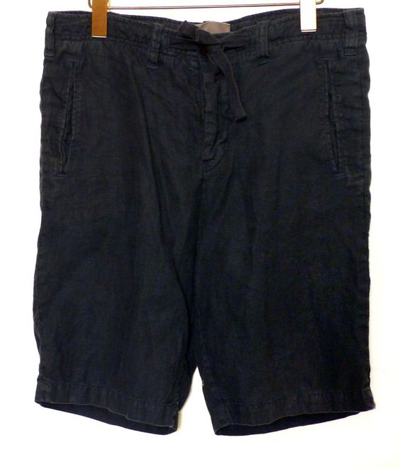 Vince Mens 100% Linen Drawstring Button Fly Shorts in Costal Navy ...