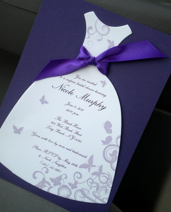 Butterfly Bridal Shower Invitations: Dress Die Cut Butterfly Shower Invitations. $2.50, via Etsy.