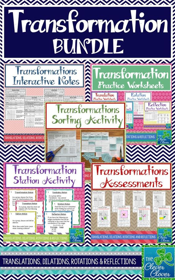 The product will help you immensely with 8th grade transformations.  Students will learn and explore translations, dilations, rotations and reflections.  Included you will find interactive notes, worksheets, stations, a sorting activity and assessments.