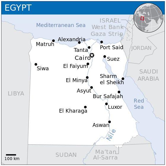 Mapa do República Árabe do Egito