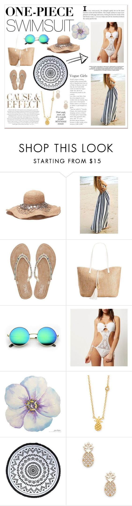 """""""One Piece Swimsuit"""" by nicoleta98c ❤ liked on Polyvore featuring M&Co, INC International Concepts, Envi, River Island, Sydney Evan, You, Me and the Dream, Sole Society and onepieceswimsuit"""