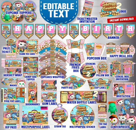 INSTANT DOWNLOAD Sheriff Callie~COMPLETE~Party Printables~ centerpiece, Labels, Cupcake Toppers, Invitation by Hugeparty4less on Etsy https://www.etsy.com/listing/231258107/instant-download-sheriff