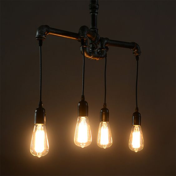 American loft water pipe nostalgic vintage light bulb bar personalized 4 pendant light()