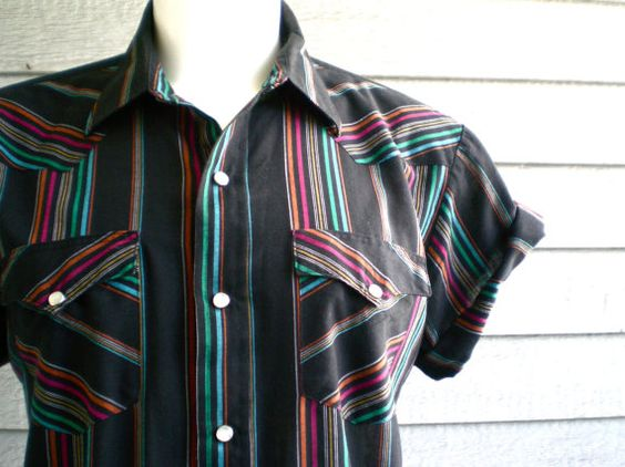 vintage 80s western shirt in black with neon rainbow by ReRunRoom, $30.00