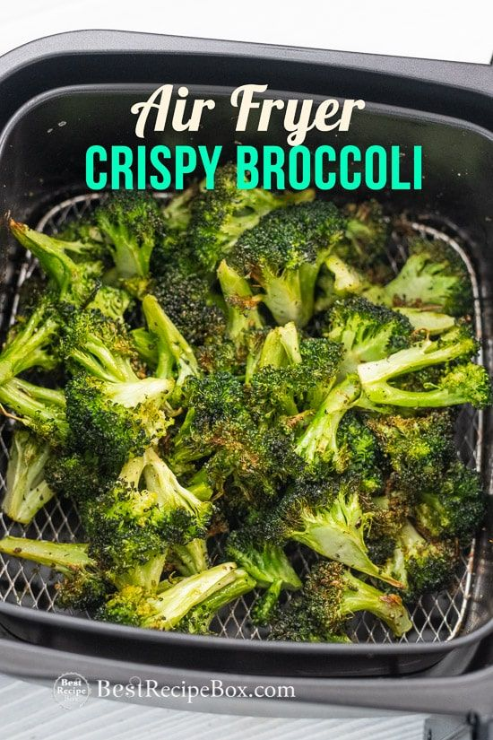 Easy broccoli in the air fryer! This is so good! Best Air fried broccoli recipe that's crispy broccoli. Garlic Broccoli in the air fryer comes up perfect