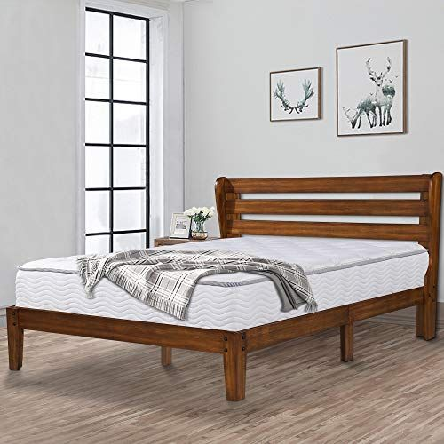Ecos Living 14 Inch High Rustic Solid Wood Platform Bed Frame With
