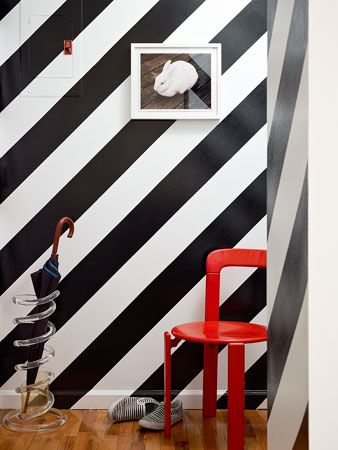 Striped Wall + umbrella stand