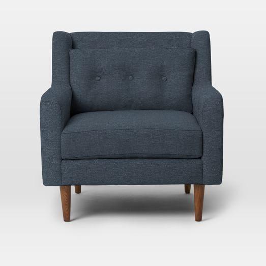 $749 Crosby Armchair, Mod Weave, Nightshade, Pecan
