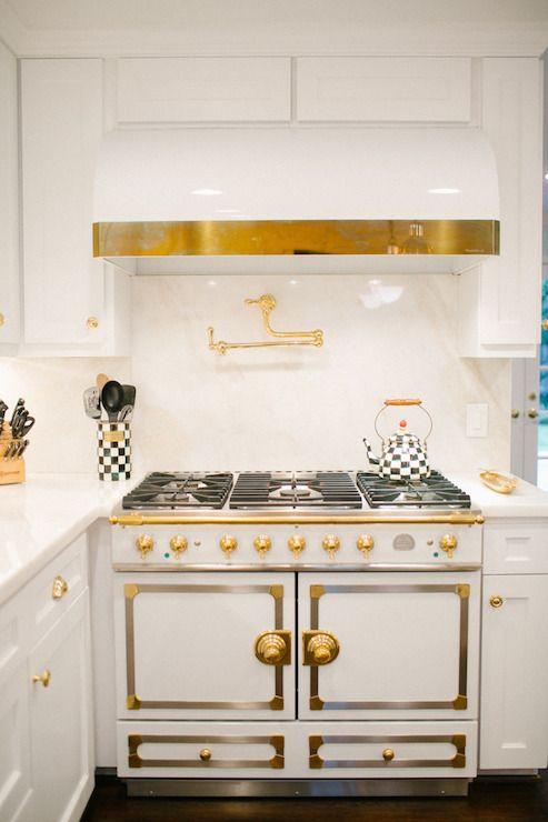 Style Me Pretty - kitchens - La Cornue Cornuefe Stove, la cornue, la cornue stove, white la cornue stove, white la cornue, barrel hood, whit...