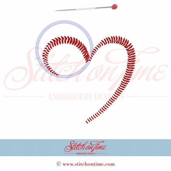 160 Baseball : Heart Baseball Applique 6x10