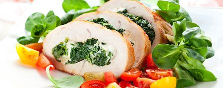Chicken roll-ups with goat cheese and arugula