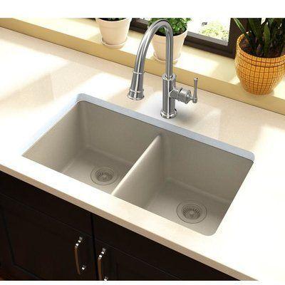 Elkay Quartz Classic 33 X 19 Double Basin Undermount Kitchen Sink Finish Bisque Drop In Kitchen Sink Top Mount Kitchen Sink Kitchen Remodel