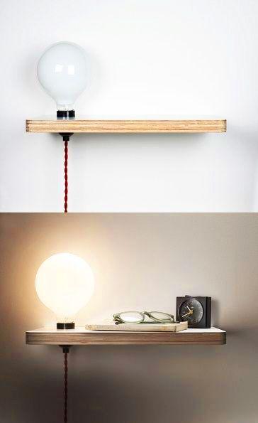 table de chevet diy ampoule et planche