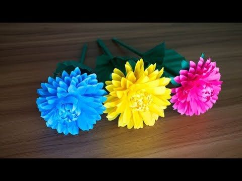 How To Make Paper Dahlia Flower Craft At Home Paper Diy Kagojer Ful Youtube Flower Crafts Paper Dahlia Paper Flowers Diy