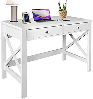 Amazon Com Choochoo Home Office Desk Writing Computer Table Modern Design White Desk With Drawers In 2020 White Desk With Drawers Desk With Drawers Home Office Desks