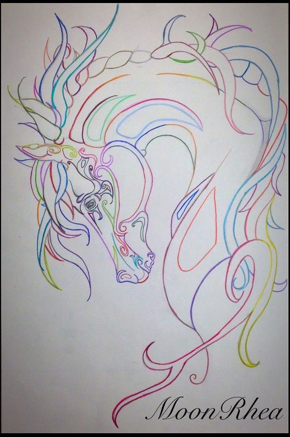 Wild Colors by MoonRhea #zentangle #horse #art Zentangle Horse Art with Prismacolor Pencils