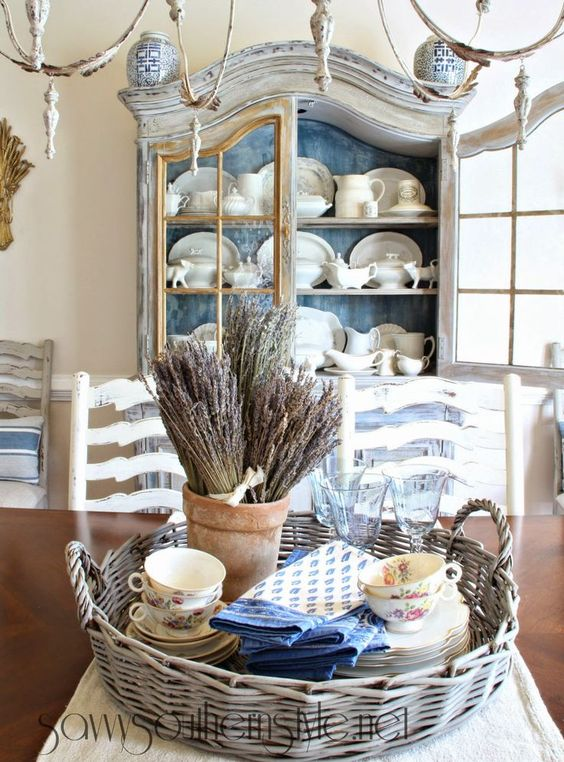 Country French Style: I like how the inside of the cabinet is painted blue. It…