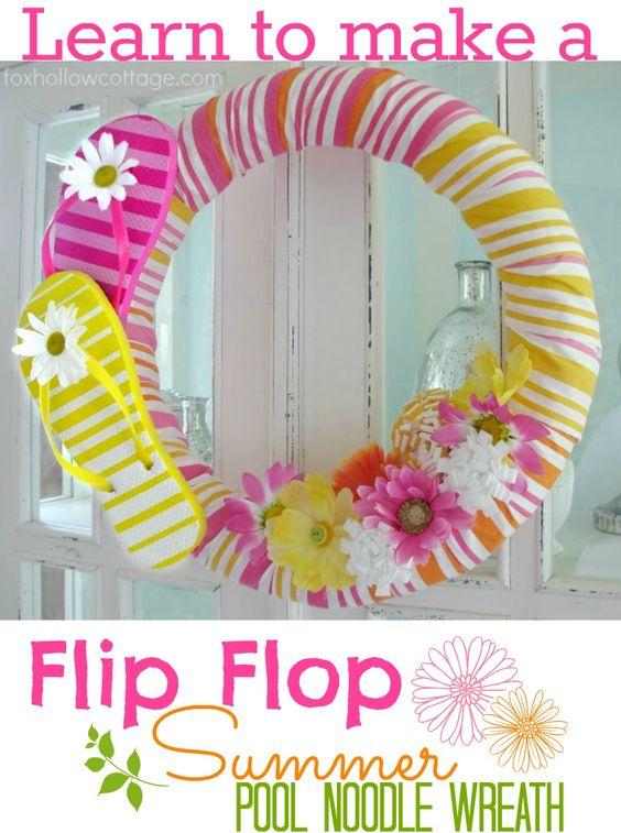 Flip Flop Summer Pool Noodle Wreath Tutorial Summer