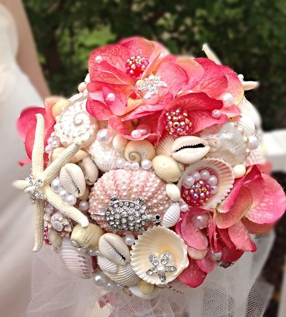 Sea Shell Bouquet Seashell Hawaiian Wedding Pink By BeachBasketBride On Etsy