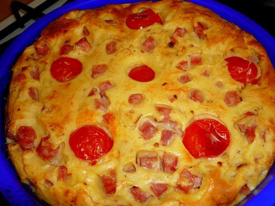 Quiche sans pâte au jambon et tomates ( 4 pp)