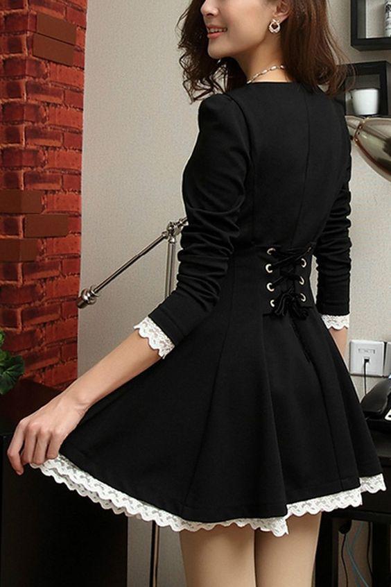 Elegant Round Neck Long Sleeve A-line Dress: