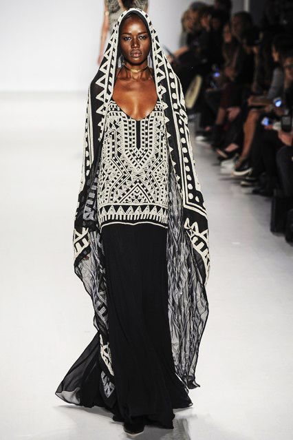 Black, white, and boho....hooded maxi dress skirt outfit look by Mara Hoffman autumn/ winter 2014 - 2015