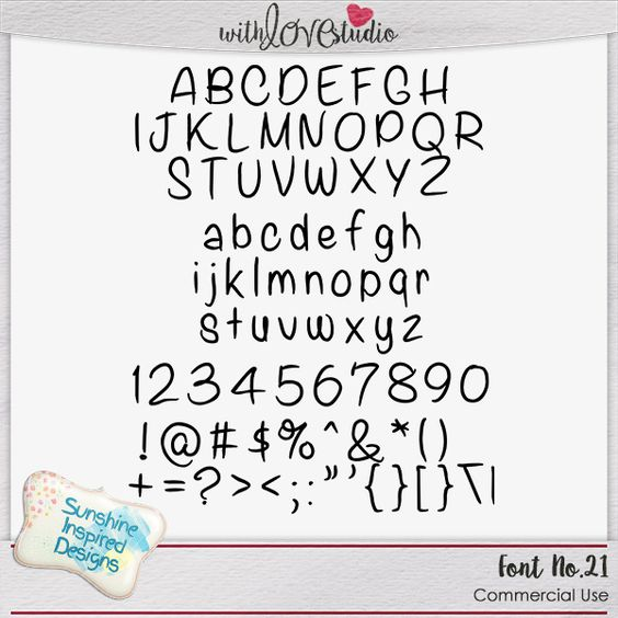 Font No.21 Font No.20 hand-written font from Sunshine Inspired Designs comes with uppercase and lowercase letters, numbers and some basic punctuation and symbols. TTF format, works on mac and PC. This font is good for Commercial Use.