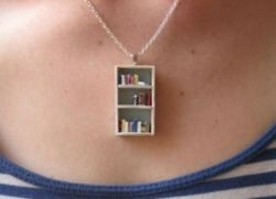 cutesy bookcase necklace