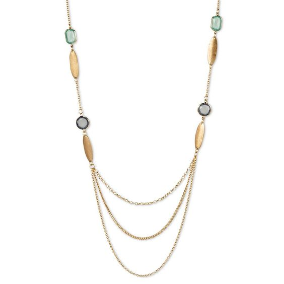 Women's Long Station Necklace with Channels & Oval Discs Multi - Gold (32)