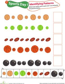 Here's a sports-themed page with cut outs for students to practice identifying and extending a pattern.