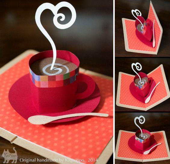 original handmade  [pop-up card ]    hot coffee  *********************************** [YouTube]    http://youtu.be/f34ylptBDSU