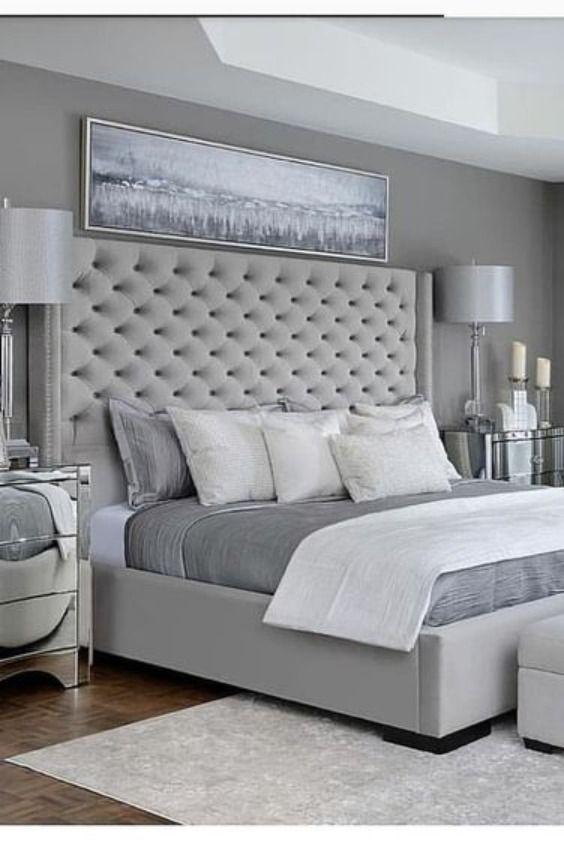Details About Wing Back Bed Frame Upholstered Fabric Velvet